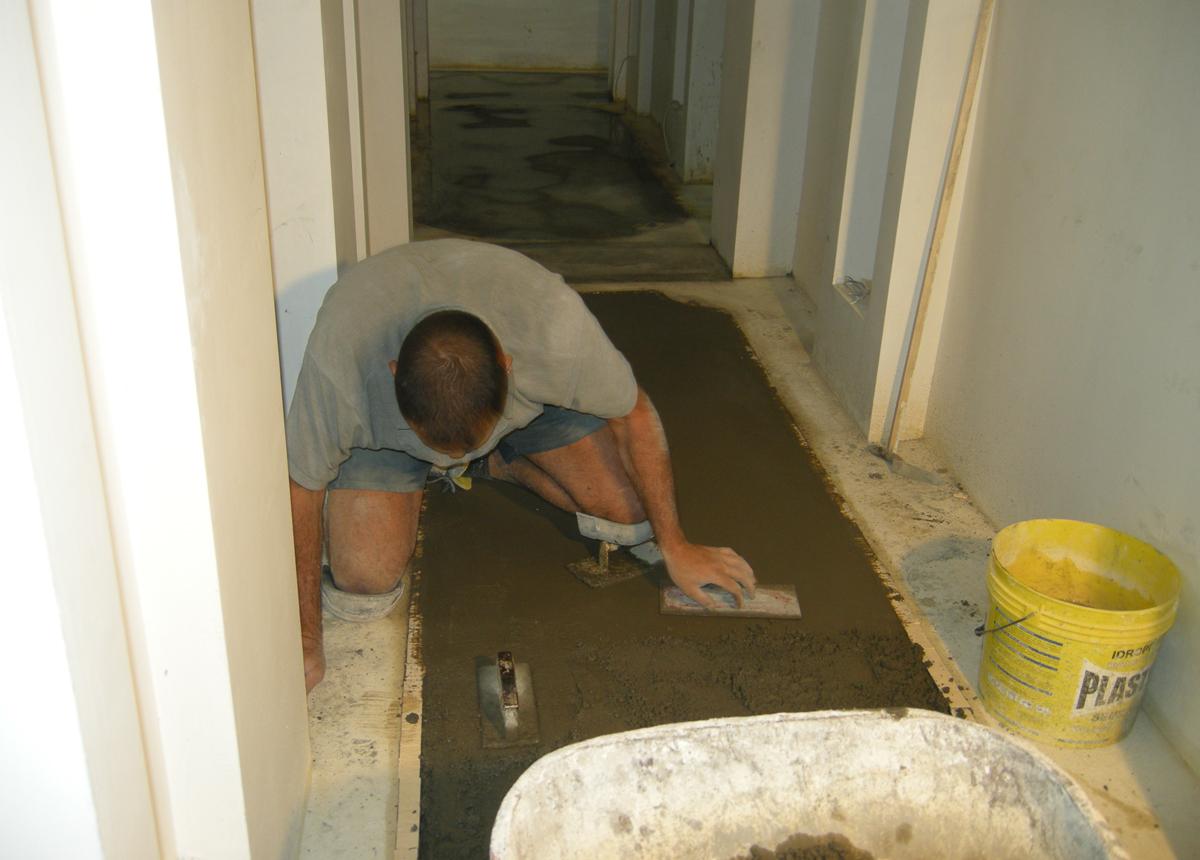 lavorazione del pavimento in graniglia, Terrazzo