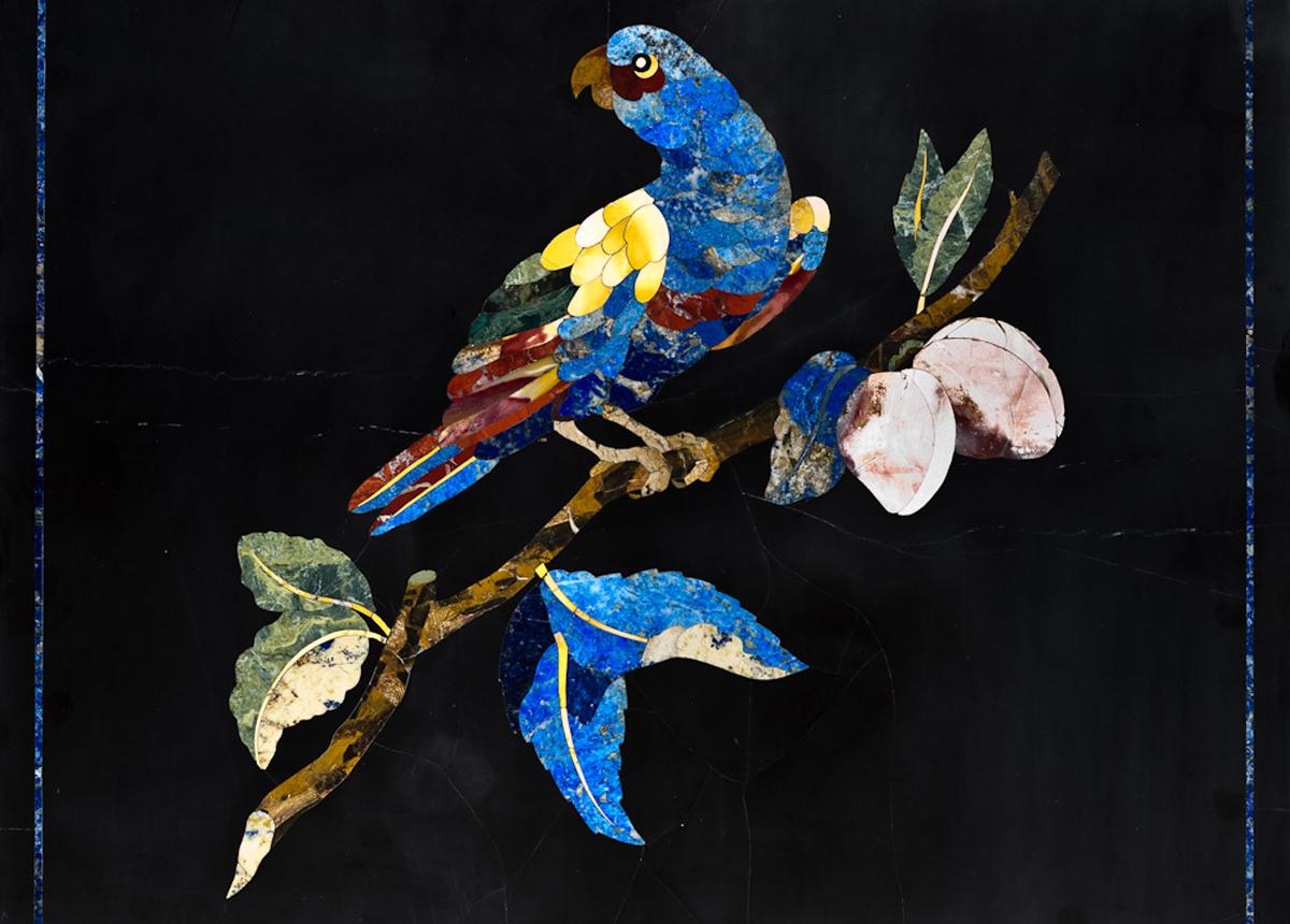 commesso fiorentino, pietre dure, pappagallo