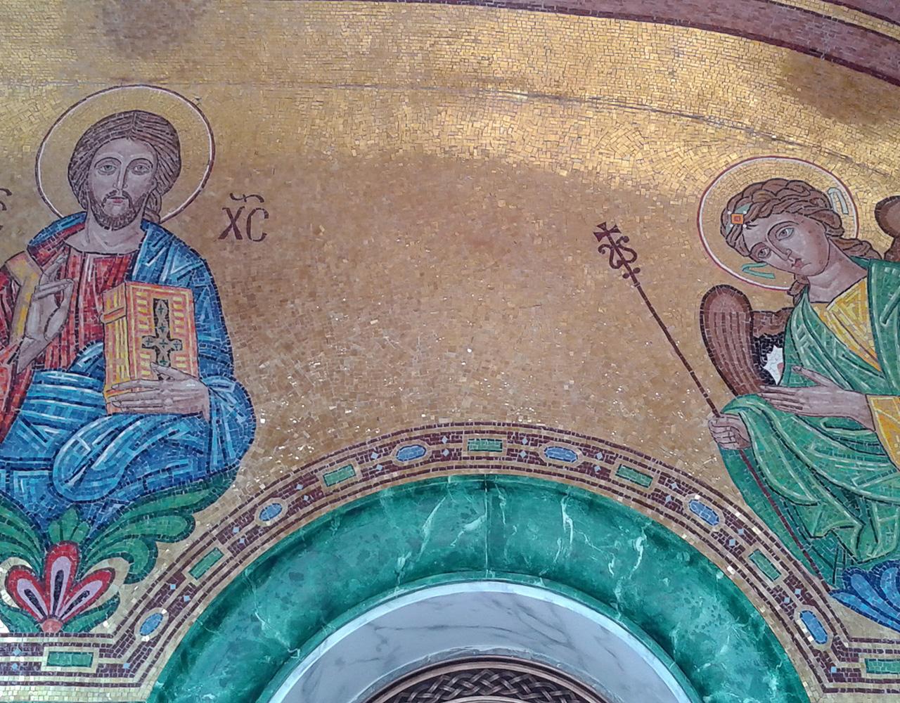 rivestimento in mosaico d'oro e smalti per l'androne di Santa Sofia