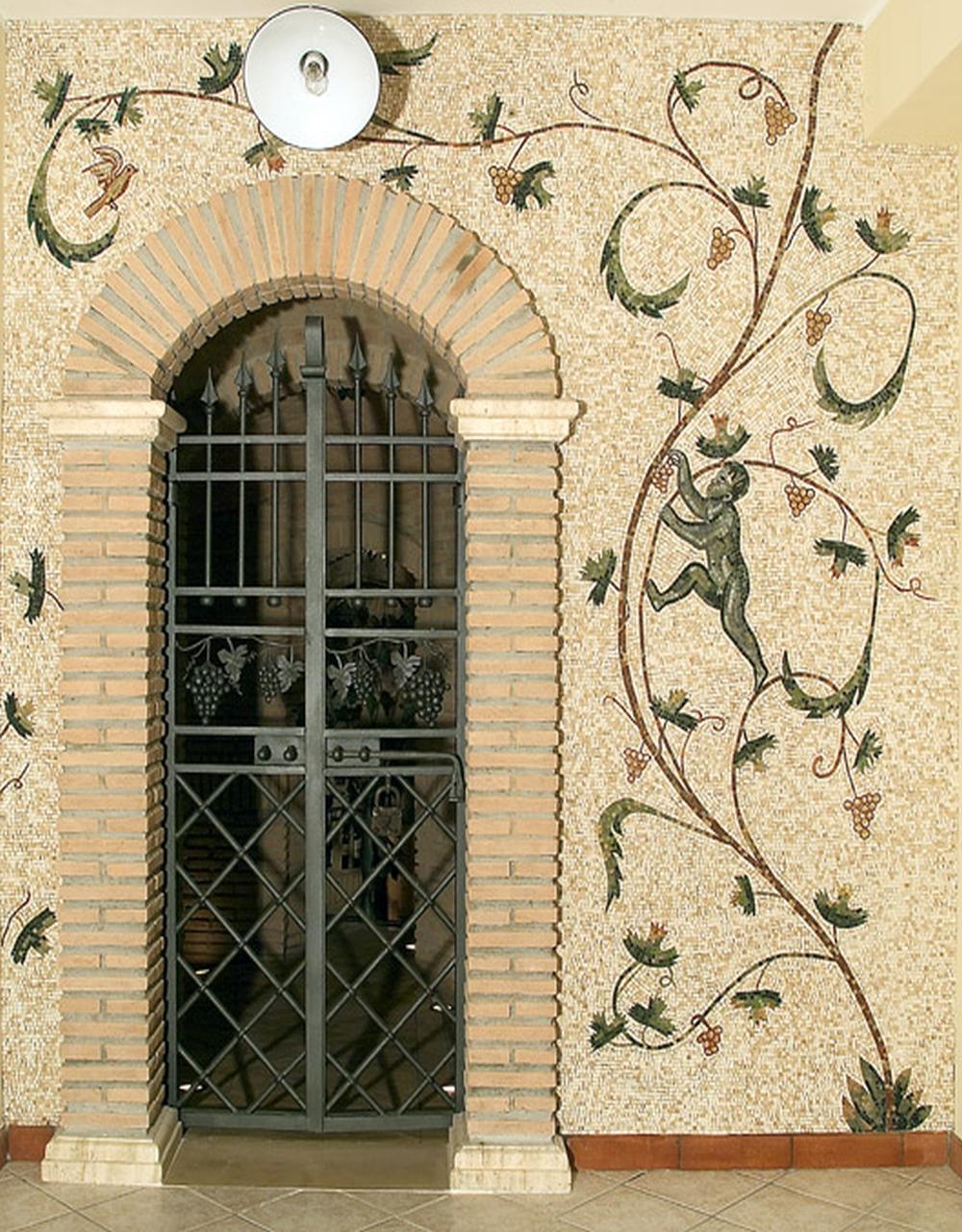 rivestimento di una parete con mosaico lapideo, copia da mausoleo di Santa Costanza